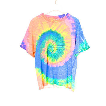 90's Grunge tie dyed T shirt size  L by NightAfterNight on Etsy