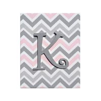 Upholstered Wood Letter Name / Pink Gray White Premier Prints Bella Chevron / Baby Girl Nursery Decor / Grey Letters