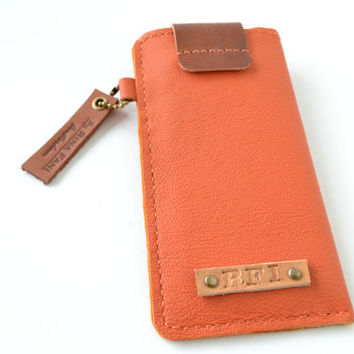 Personalized leather Iphone sleeve, handstitched, Iphone 5, 4, orange