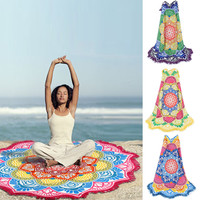 unisex Summer Thin Round Mandala tapestry Hippie Pareo boho Tapestries Wrap shawl Throw Towel blanket Mat Beach Cover Up Scarf
