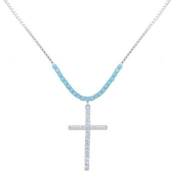 Genuine Gemstone Turquoise Cross Necklace in Sterling Silver