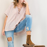 Lace Up Rolled Blouse