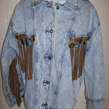 Denim Fringed Stonewashed Jacket Women's size Medium