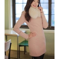Pink Women Long Sleeve Autumn Spring New Style Flannel Dress M/L @WH0410p $30.62 only in eFexcity.com.