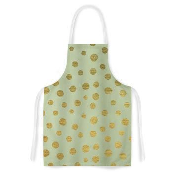 "Nika Martinez ""Golden Dots and Mint"" Green Gold Artistic Apron"