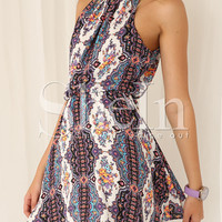 White Spaghetti Strap Tribal Print Dress -SheIn(Sheinside)
