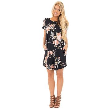 Mini Dress Round Neck Floral Printing Dress Short Sleeve Summer Dress