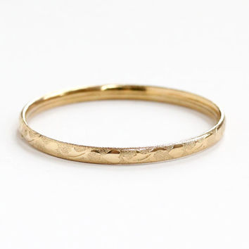 Vintage 14k Rosy Yellow Gold Filled Heart & Leaf Bracelet - 1950s Mid Century Small Petite Childrens Bangle Jewelry Eternity Design