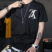 LV 2019 new inverted letter printed loose round neck half sleeve T-shirt Black