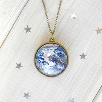 Handmade 3D Planet Earth Necklace on Antique Brass Chain with Gift Box