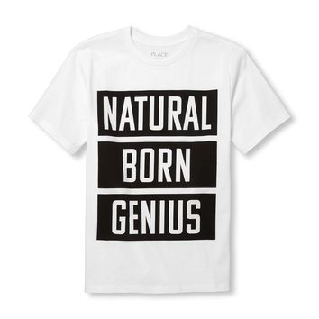 Boys Short Sleeve 'Natural Born Genius' Graphic Tee
