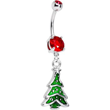Red Gem Classic Christmas Tree Dangle Belly Ring