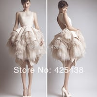 Short Evening Dresses with Ostrich Feather