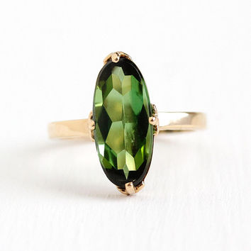 Green Tourmaline Ring - Vintage 3.08 CT Green Gemstone 14k Yellow Gold Size 6 1/4 Oval Pin Conversion - Alternative Fine Engagement Jewelry