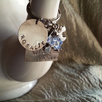 I Love You Just the Way You Are ~ Hand stamped Keychain ~ Autism Awareness – Swarovski Crystal ~ Autism Charm