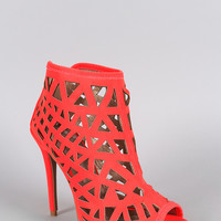 Qupid Neon Cutout Peep Toe Stiletto Bootie