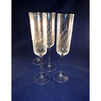 Tall Leaf Etched  Flutes