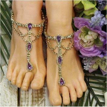 SOMETHING PURPLE wedding barefoot sandals - gold