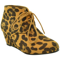 Kids Ankle Boots Faux Suede Low Heel Casual Wedges Brown