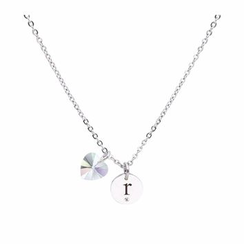 Dainty Initial Necklace made with Crystals from Swarovski  - R