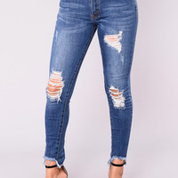 Celene Distressed Jeans - Medium Blue