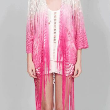 Featuring semi-sheer Mesh Embroidered Lace with floral accents, open front with fringe detailing, three quarter-length kimono sleeves with scallop trim, high-low hem, and finished with off white & pink ombre accent. Pair with crop top, High waist denim cut
