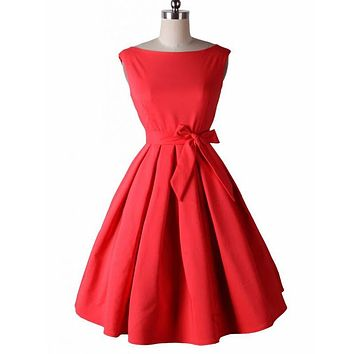 LERFEY Vestidos Women Dress Pinup Vintage 50s Retro Rockabilly Club Dress Party Dresses Sleeveless Bow Red Black Pleated Dress