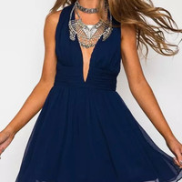 V-Neck Strap A-Line Chiffon Dress