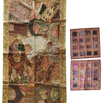 Mogul Embroidered Patchwork Tapestry Handmade Vintage Colorful Wall Hanging With Cushion Cover: Amazon.ca: Clothing & Accessories
