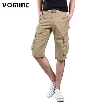 Men's Cargo Shorts Casual Shorts Fashion Pockets Solid Color Army Green Shorts New Arrival