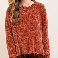 Autumn Ready Long Sleeve Chenille Velvet Ruffle Round Neck Pull Over Sweater Tunic - 4 Colors Available