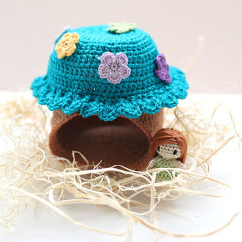 Crochet Fairy House: Waldorf Inspired, Pretend Play, Collectible, Small Decor