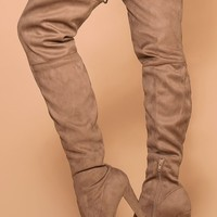 Stand Tall Taupe Over The Knee Suede Boots