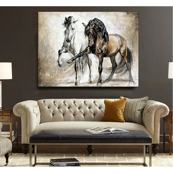 Retro nostalgia brown horse horse dance original living room VINTAGE home decor Modern animal oil painting on canvas wall art pa
