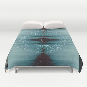 Cosmic Waveform Duvet Cover by Ducky B