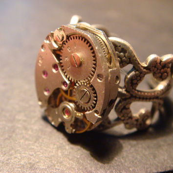 Steampunk Watch Movement Ring with Exposed Gears (517)