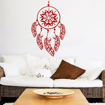 Lotus Wall Decal Dream Catcher Stickers Vinyl Stickers Feathers Yoga Art Mural Home Living Room Interior Design Bohemian Bedding Decor KI71