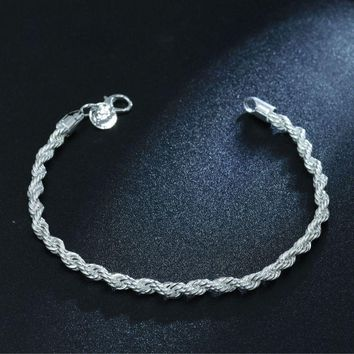 925 Silver Twisted Rope Chain Elegant Bracelet Bangle Unisex Women Jewelry