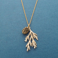 Forest, Pine tree, Pine cone, Gold, Silver, Necklace, Birthday, Best friends, Sister, Gift, Jewelry
