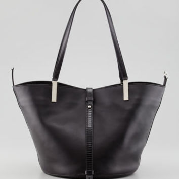 THE ROW Garden Lizard-Trim Tote Bag, Black