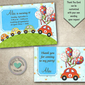 Car Boy Birthday Invitation - Boy's Party - Car Invitation