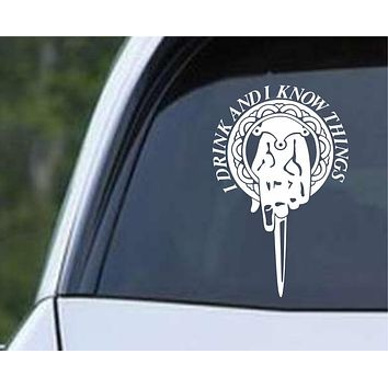 Game Of Thrones - Tyrion I Drink and I Know Things Hand of the King Pin Die Cut Vinyl Decal Sticker