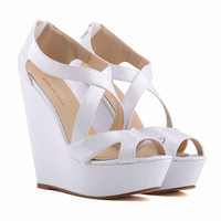 New heavy-bottomed high-heeled patent leather wedge heel women sandals fish head waterproof summer shoes