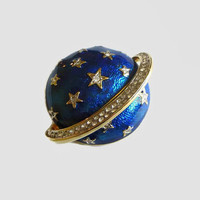 Butler & Wilson Celestial Brooch, Cobalt Blue Enamel, Hand Set Crystal Stars, Gold Plated, Designer Signed, Saturn, Planet Jewelry, Minty!