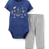 Carter's Newborn-24 Months Nautical Bodysuit & Pants Set - Navy
