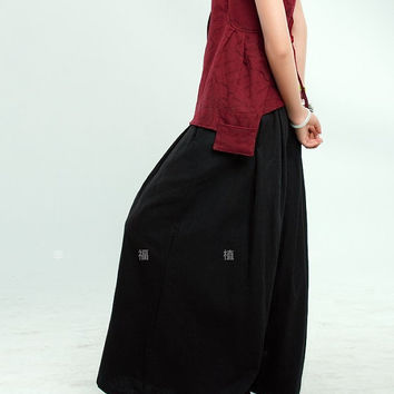 Black wide leg pants fashion skirt pants Linen pants