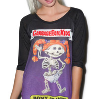 Iron Fist Garbage Pail Kids Bony Joanie Raglan Black
