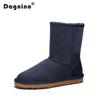DAGNINO High Quality Sheepskin Leather Suede Winter Snow Boots Lady Shearling Women Real Sheep Fur Wool Lined Ankle Shoes Unisex