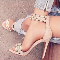 Pearl Rivets Ankle Strap Women Fashion Sandals High Heels Shoes