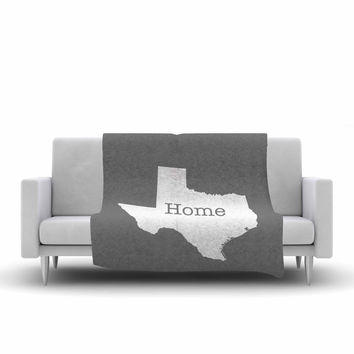 "Bruce Stanfield ""Texas Is Home"" White Gray Fleece Throw Blanket"